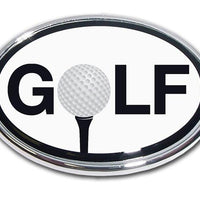 "Golf Ball ""O"" Black and White Chrome Car Emblem"