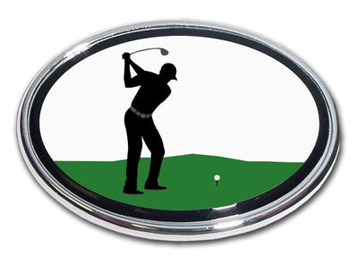 Golfer Backswing Chrome Car Emblem