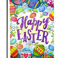 Happy Easter Eggs Textured Suede Reflections Garden Flag