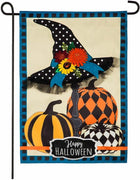 Happy Halloween Witch Hat and Pumpkins Applique Garden Flag
