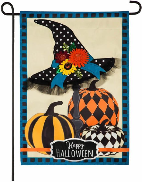 Happy Halloween Witch Hat and Pumpkins Applique Garden Flag - I AmEricas Flags