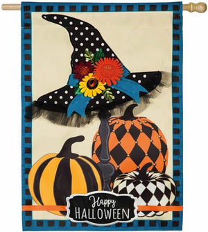 Happy Halloween Witch Hat and Pumpkins Applique House Flag