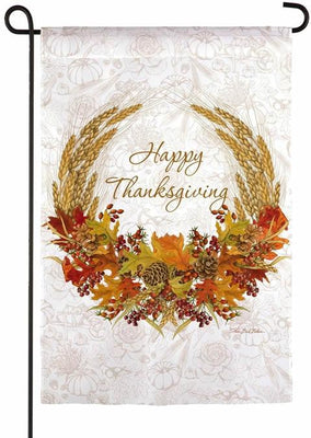 Happy Thanksgiving Autumn Wheat Suede Reflections Garden Flag