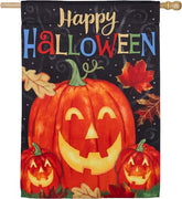 Haunted Happy Halloween Suede Reflections House Flag