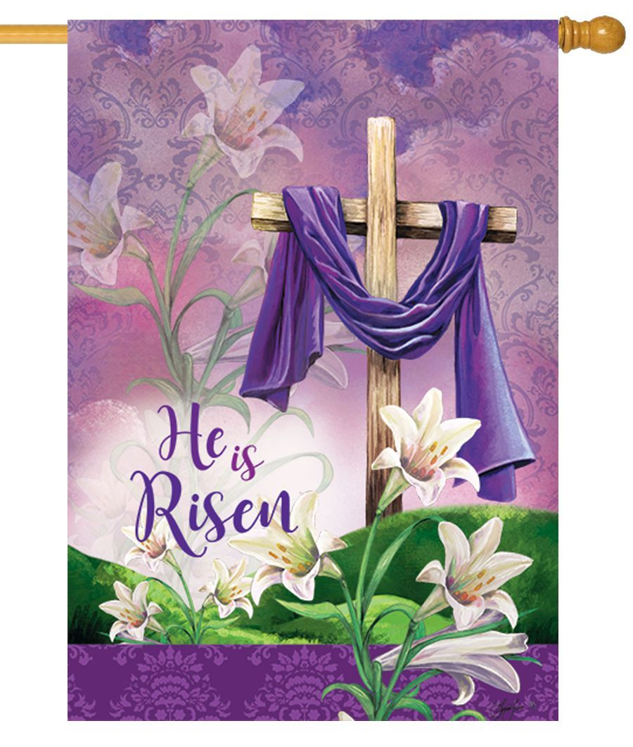 He Is Risen Purple Robe House Flag
