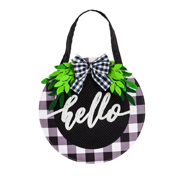 Hello Plaid and Foliage Decorative Door Hanger