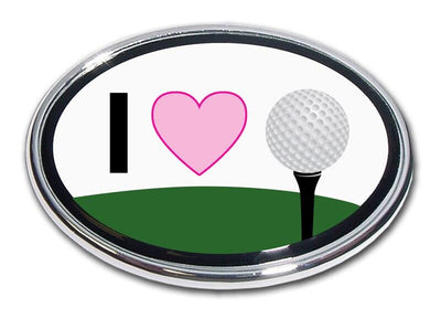 I Heart Golf Chrome Car Emblem
