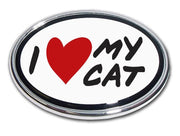 I Heart My Cat Chrome Car Emblem