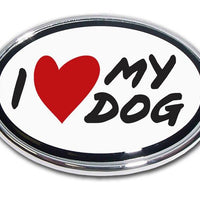 I Heart My Dog Chrome Car Emblem