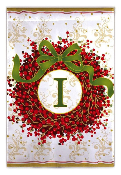 Berry Wreath Monogram I House Flag
