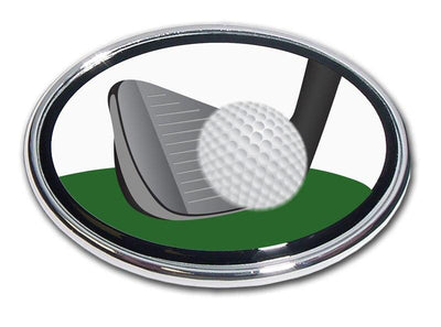 Golf Ball and Club Chrome Car Emblem