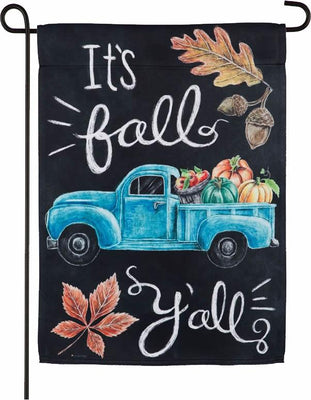 It's Fall Y'all Blue Truck Suede Reflections Garden Flag