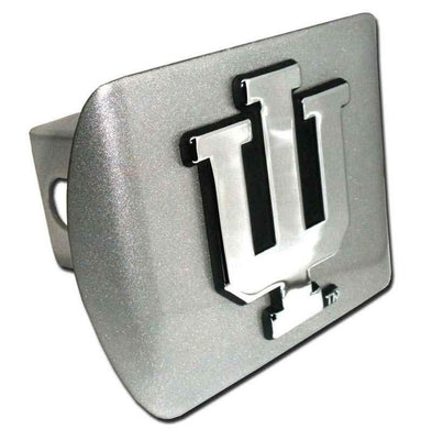 Indiana University Brushed Chrome Hitch Cover