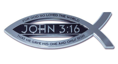 Christian Fish Chrome Car Emblem John 3:16