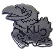 University of Kansas Jayhawk Matte Chrome Car Emblem
