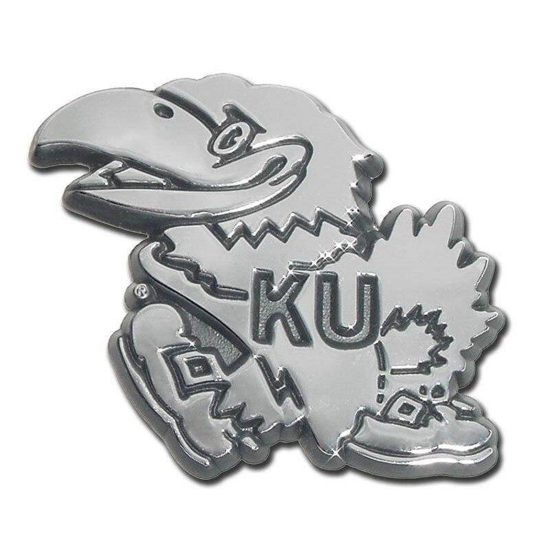 University of Kansas Jayhawk Chrome Car Emblem