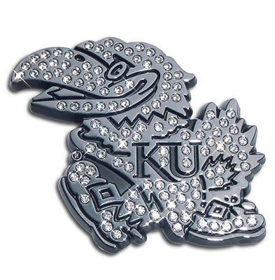 University of Kansas Jayhawk Crystal Chrome Car Emblem
