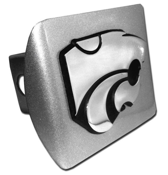 K State Powercat Brushed Chrome Hitch Cover