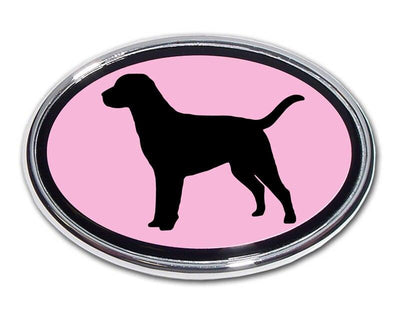 Labrador Retriever Pink and Chrome Car Emblem