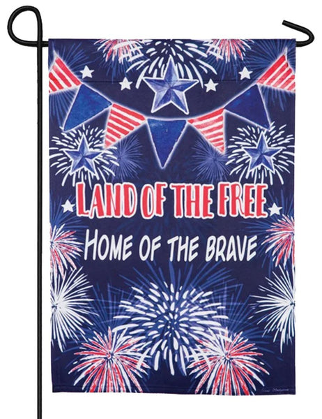 Land of the Free Fireworks Suede Reflections Garden Flag