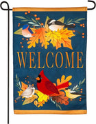 Linen Autumn Songbirds and Fall Leaves Garden Flag