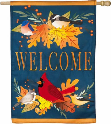 Linen Autumn Songbirds and Fall Leaves House Flag