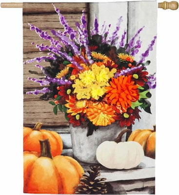 Linen Beautiful Fall Bouquet House Flag