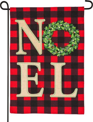 Linen Christmas NOEL Wreath Garden Flag