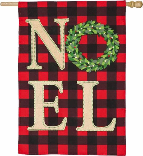 Linen Christmas NOEL Wreath House Flag - I AmEricas Flags