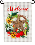 Linen Copper Star Wreath Garden Flag
