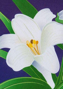 Linen Easter Lilies Decorative House Flag Detail 2