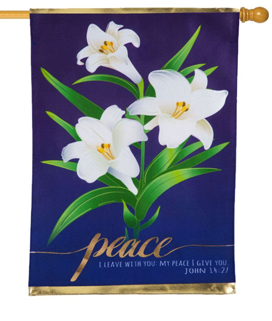 Linen Easter Lilies Decorative House Flag