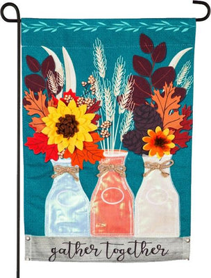 Linen Fall Milk Bottles and Flowers Garden Flag