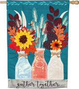 Linen Fall Milk Bottles and Flowers House Flag