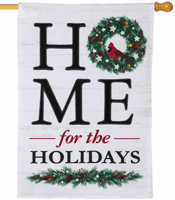 Linen Home for the Holidays House Flag