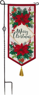 Linen Merry Christmas Poinsettias Applique Garden Banner