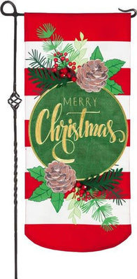 Linen Merry Christmas Stripes Applique Garden Banner