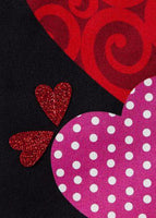 Linen Mixed Print Hearts Decorative Garden Flag Detail 1