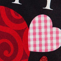 Linen Mixed Print Hearts Decorative Garden Flag Detail 2
