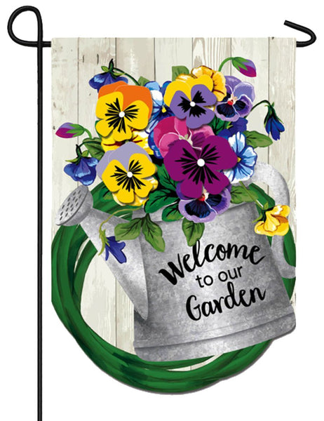 Linen Pansy Watering Can Decorative Garden Flag