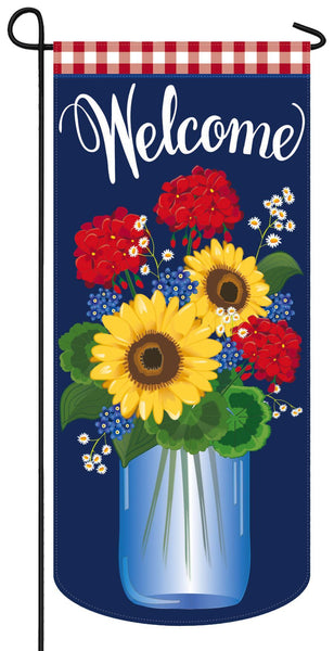 Linen Patriotic Flowers Applique Garden Banner