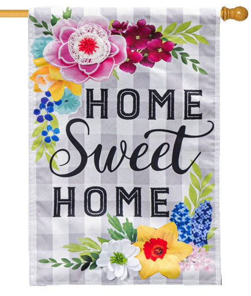 Linen Plaid Home Sweet Home Decorative House Flag