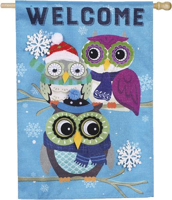 Linen Playful Winter Owls House Flag