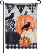Linen Pumpkins and Crows BOO Garden Flag