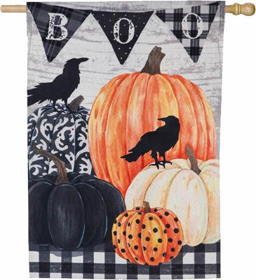 Linen Pumpkins and Crows BOO House Flag