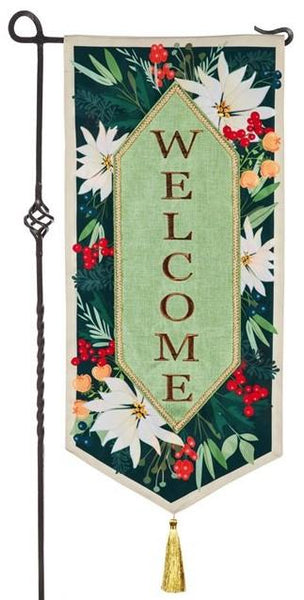 Linen White Poinsettias Welcome Applique Garden Banner
