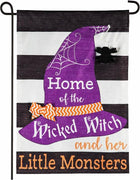 Linen Wicked Witch and her Little Monsters Decorative Garden Flag