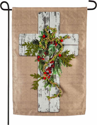 Linen Wood Grain Cross Decorative Garden Flag