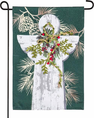 Linen Wooden Angel Holiday Garden Flag