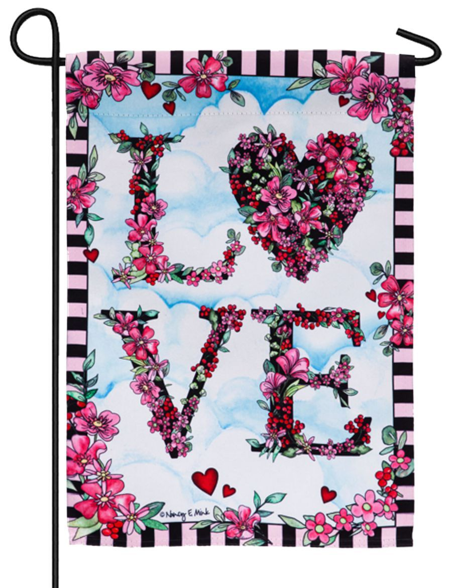 Love in the Clouds Suede Reflections Garden Flag